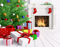 Christmas tree, gifts, fireplace in a room 3d rendering. Christmas tree, gifts, fireplace in a living room interior 3d rendering Royalty Free Stock Photos