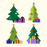Christmas tree gifts flat isolated Royalty Free Stock Photo