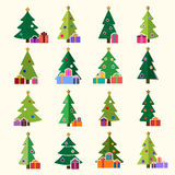 Christmas tree gifts flat isolated Stock Photos