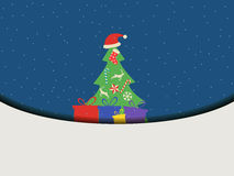 Christmas tree with gifts in a flat style. Christmas concept. Ch. Ristmas Symbols. Vector illustration Royalty Free Stock Photos