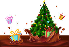 Christmas tree and gifts floating in chocolate splash - vector Royalty Free Stock Images