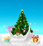 Christmas tree and gifts floating in milk splash - vector Stock Images