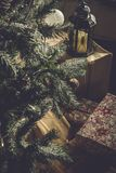 Christmas tree with gifts. On a floor Royalty Free Stock Image