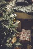 Christmas tree with gifts. On a floor Stock Photography