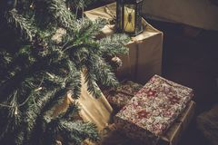 Christmas tree with gifts. On a floor Stock Photo