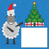 Christmas tree with gifts  and  funny sheep Stock Images