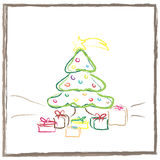 Christmas tree with gifts. Graphic design - Christmas tree with gifts Royalty Free Stock Photo