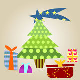 Christmas tree with gifts. Graphic design - Christmas tree with gifts Stock Photos