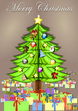 Christmas tree with gifts. Green christmas tree with gifts and toys Royalty Free Stock Image