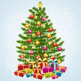 Christmas tree with gifts. Greeting card Stock Images