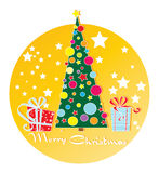 Christmas tree and gifts. Greeting card, banner, sticker Stock Photos