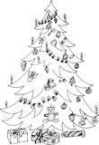 Christmas tree with gifts. Hand drawn patterns for coloring. Freehand sketch drawing for adult antistress coloring book Royalty Free Stock Photo