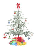 Christmas tree with gifts. For holiday isolated on white background Stock Photo