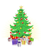 Christmas tree and gifts illustration Royalty Free Stock Photo