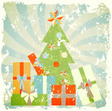 Christmas tree with gifts, illustration in retro s Royalty Free Stock Photos