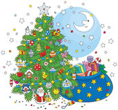 Christmas tree and gifts royalty free illustration