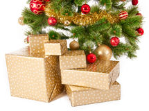 Christmas Tree and Gifts. Over white background Stock Images