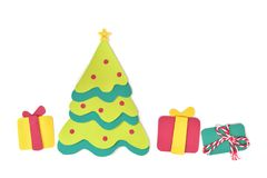 Christmas tree and gifts paper cut Royalty Free Stock Image