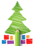 Christmas tree and gifts in pencil Stock Image