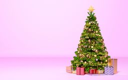 Christmas tree with gifts in pink room. New Year, holiday royalty free illustration