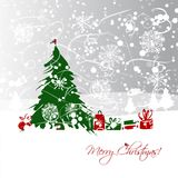 Christmas tree with gifts, postcard design Stock Photography