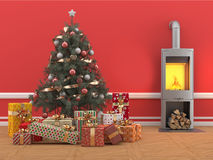 Christmas tree with gifts on red room with fireplace. A Christmas tree decorated in the old style, arranged with Christmas gifts around on a parquet floor style Stock Photo