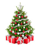Christmas tree and gifts, in red, white and silver royalty free stock images