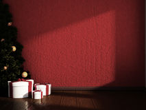 Christmas tree with gifts in the room, 3d Royalty Free Stock Photography