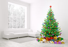 Christmas tree, gifts in a room 3d rendering Royalty Free Stock Photography