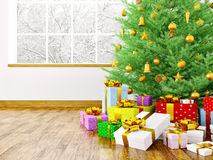 Christmas tree, gifts in a room 3d rendering. Christmas tree, golden baubles,gifts in a living room over window interior 3d rendering Royalty Free Stock Photo