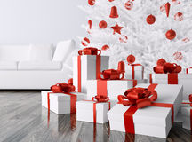 Christmas tree, gifts in a room 3d rendering Stock Photos