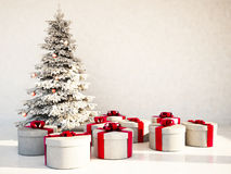 Christmas tree and gifts in the room. Rendering Stock Image