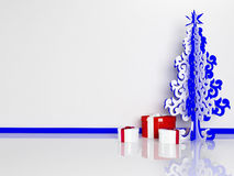 Christmas tree and gifts in the room. Rendering Royalty Free Stock Photos