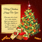 Christmas tree and gifts and scroll for your text Royalty Free Stock Image