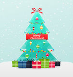 Christmas tree with gifts on a snowy background. New Year card Royalty Free Stock Photos