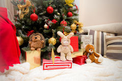 Christmas Tree with Gifts and toys, Xmas concept. Decorated christmas Tree with Gifts, Christmas concept stock photos