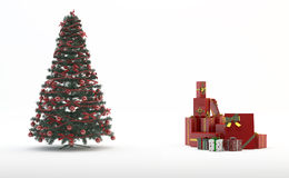 Christmas tree and gifts. Traditional Set: Christmas Tree and Gifts Royalty Free Stock Images
