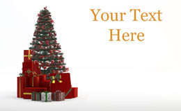 Christmas tree and gifts. Traditional Set: Christmas Tree and Gifts Royalty Free Stock Photo