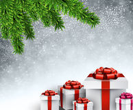 Christmas tree gifts. Christmas gifts under spruce twigs. Vector illustration Royalty Free Stock Photos