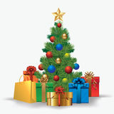 Christmas tree with gifts. Vector illustration Royalty Free Stock Photo