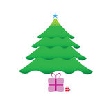Christmas tree with gifts vector Royalty Free Stock Photo