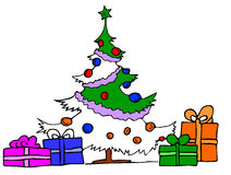 Christmas tree with gifts. Vector illustration, drawing made with bamboo pen intuos Royalty Free Stock Photo