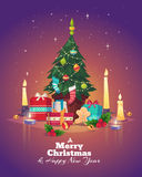 Christmas tree with gifts. Vector illustration Royalty Free Stock Image