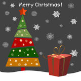 Christmas tree with gifts. Vector illustration. Happy New Year. Stock Photo