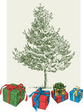 Christmas tree and the gifts Royalty Free Stock Photography