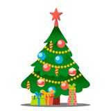 Christmas Tree With Gifts Vector. Merry Christmas And Happy New Year. Isolated Illustration vector illustration