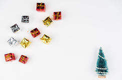 Christmas tree with gifts. On white background Stock Images