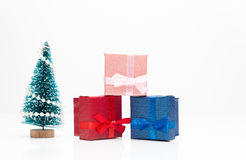 Christmas tree with gifts. On white background Royalty Free Stock Image