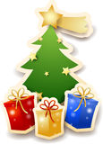Christmas tree with gifts on white background Stock Photo