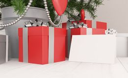 Christmas tree with gifts and white paper card. 3d rendering Stock Images